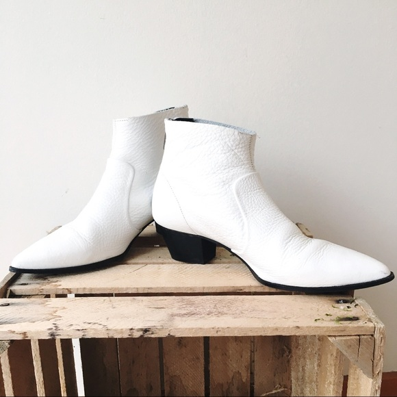 e1b037e72a L'Intervalle Shoes | Lintervalle White Pebbled Leather Boot | Poshmark